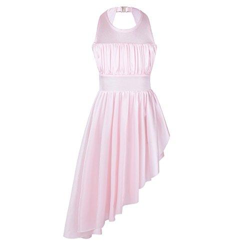 inlzdz Kids Girls Sleeveless Ruched Cutout Back with High Low Hem Leotard Dress Lyrical Ballet Dance Dress Pink 12-14