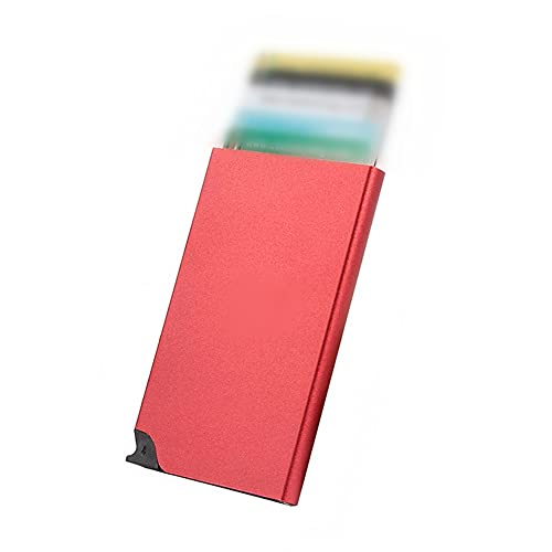 Oucity Tarjetero para tarjetas de visita, tarjetero premium de aluminio, caja de metal rígida, función pop-up, para hombre y mujer, gris (2 unidades) (rojo, deslizamiento)