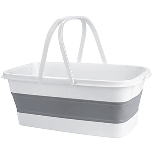 Zavddy Cubo De Fregona Cubo de fregona Cubo Rectangular Cubo Plegable de plástico plástico plástico Espesado Cubeta de fregona Adecuado para Esquinas De Piso (Color : White, Size : 48x27x18cm)