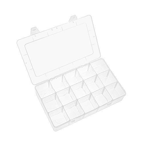 WingsShop 15 Large Grid Organizer Box Clear Plastic Adjustable Compartments Storage Container with Removable Dividers for Beads, Washi Tape Sewing Arts Small Parts Jewelry Earring Crafts and Tackle