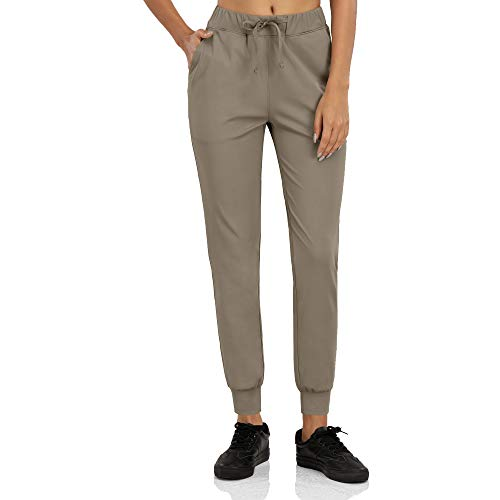 KAXI Pantalones Joggers para Mujeres con Bolsillos Leggings Atléticos Ligeros Pantalones De Salón Cónico para Ejercicios Yoga Running Senderismo Golf,Caqui,M