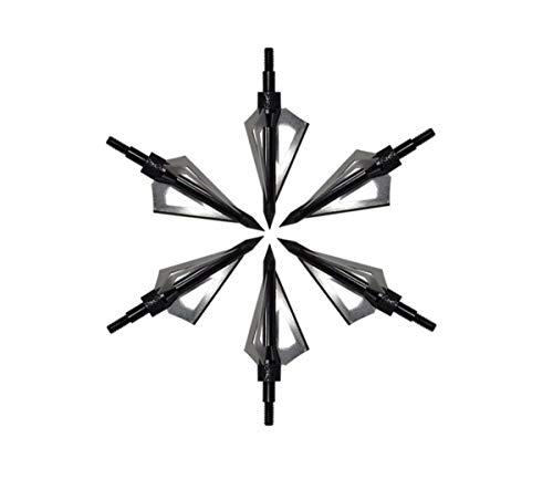 Eva Shop® 6X Jagdspitzen Pfeilspitzen für Compound Recurve Armbrust und Bogen Alu mit 3 Rasierklingen aus 430er Edelstahl - Versand aus BRD Schwarz
