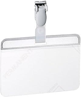 Durable 814919 Porte-badge Autocollant Autoplastifiable Fixation par Clip Plastique pour Insertion Format 54 x 90 mm Trans...