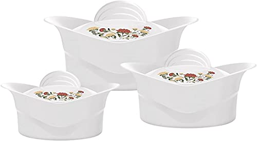 TopgadgetsUK Traditional Indian Fancy Nan Bread Roti Warm Casserole Insulated Serving Dishes with Lids - 3 Piece Regalia Thermal Hot Food Containers Set 2.5L, 3.5L, 5Liters, White
