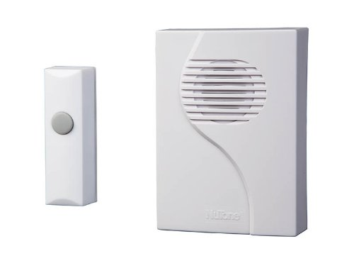 NuTone LA203WH Wireless Plug-In Door Chime Receiver and Button, White