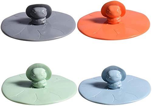 Wacemak1r Tapón de desagüe para fregadero, colador de pelo, tapón de drenaje de silicona en forma de rana para fregaderos, bañera, ducha, protector de baño, 4 unidades, S