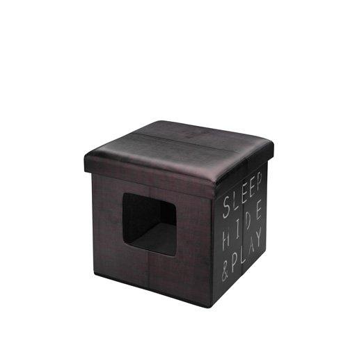 D&D Ottoman 3 en 1 Boîte d'Animaux pour Chat Brun Foncé 38 x 38 x 38 cm