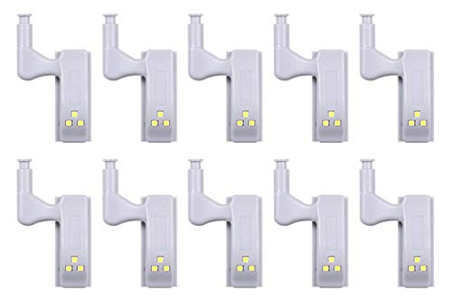 10pcs Mechanical Pressure Sensing LED Light,LED Under Cabinet Light Universal Wardrobe Light Sensor LED with Battery Night Lamp for Kitchen Cupboard Closet