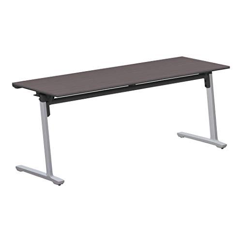 コクヨ 会議テーブル カーム KT-1401P81MG5NN 天板フラップ式 パネルなし直線タイプ 電源コンセントなし棚なし フラットシルバー脚/天板アッシュブラウン 幅180×奥行き60cm