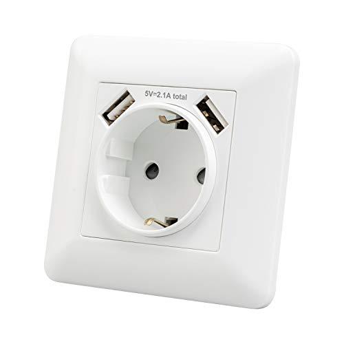 La prise avec la sortie de deux ports USB, la prise murale et la prise intégrée sont utilisées pour la maison, le bureau et d'autres scènes