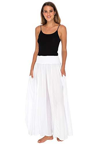 Back From Bali Womens Boho Wide Leg Palazzo Pants Smocked Waist Harem Lounge Loose Summer Beach Pants White L/XL