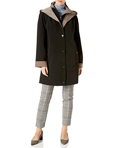 Jones New York Women's Hooded Trench Coat Rain Jacket, Black/Taupe, Large