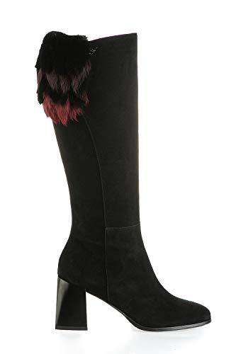 Marino Fabiani 7020 kniehohe schwarze Wildleder-modische italienische Designer-Stiefel, Schwarz (schwarz), 38 EU