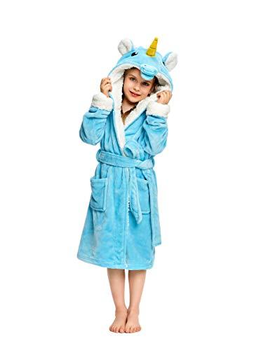 NEWCOSPLAY - Albornoz unisex de felpa y forro polar suave para niños,  Azul (Blue Unicorn), 3-4 Años
