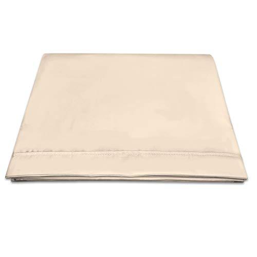 400 conteo de Hilos algodón Puro Sábana Encimera 230x270 Beige para Cama 150cm, 100% Larga algodón Tejido Saten Beige sábana Plana con Elegante Dobladillo (Beige, Talla: 230x270 cm)