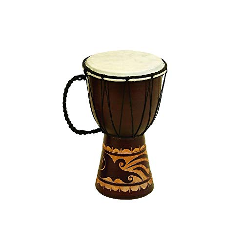 Benzara Toca Wood Drum Décor with Nylon Ropes, Brown