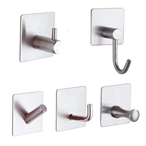 Towel Hook Self-Adhesive Coat Bathrobe Hook Bathroom Adhesive Hanging Hook Stainless Steel Brush 6-Piece