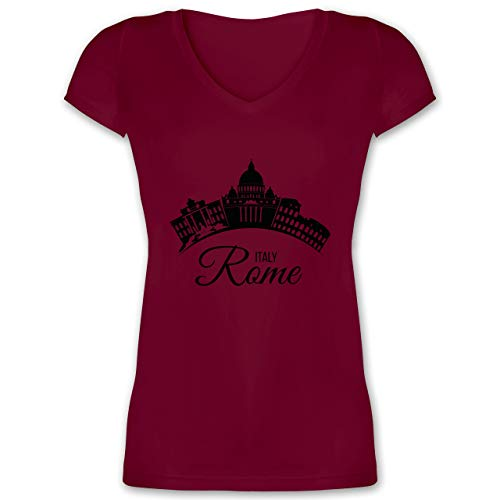 Skyline - Skyline Rome Italien Italy - M - Bordeauxrot - Shirt Rome - XO1525 - Damen T-Shirt mit V-Ausschnitt