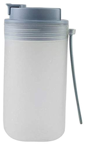 Botella de agua con pajita, botella portátil a prueba de fugas con escala para fitness, gimnasio, camping, deportes al aire libre, Jsmhh (color negro)