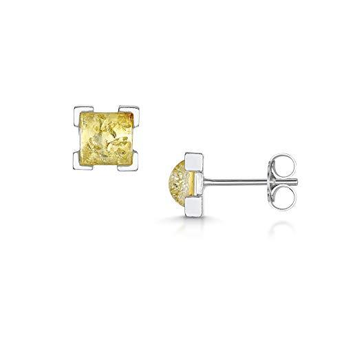 Amberta - Orecchini a perno in argento Sterling 925 con ambra baltica, a forma quadrata e Argento, colore: Giallo, cod. S925-BC-5310-EAR-2Y