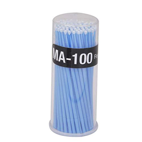 100 Stück Einweg Microbürsten Wimpernbürsten zur Wimpernverlängerung Reinigungsstäbchen Minipinsel Augenmake-up Applikatoren, Blau