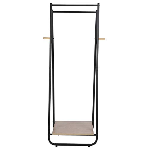 EBTOOLS Clothes Rack,Freestanding Garment Clothes Rail Metal Garment Drying Rack Floor Coat Rack Shoe Stand with Wood Storage Shelves and Hanging Rail for Bedroom Entrance Basement,53x40x150cm