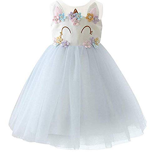 Vestido de princesa para nia, diseo de unicornio, flores, para boda, fiesta, tut, sin mangas, para disfraz (azul, 4 - 5 aos/120 cm)