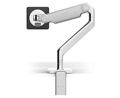 Humanscale M2.1 Adjustable Monitor Arm with Two-Piece Clamp Mount with Base - Polished Aluminum M21CMWBTB