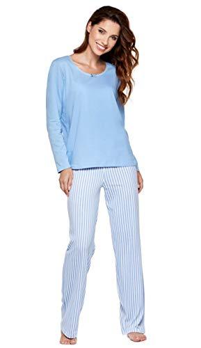 Moonline moderner und bequemer Damen Pyjama/Shorty/Capri Schlafanzug, mit weicher Baumwolle, hellblau, Gr. L (44/46)