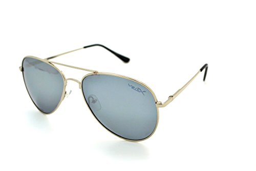 VertX Lightweight Classic Mens & Womens Trendy Aviator Sunglasses w/FREE Microfiber Pouch - Silver Frame - Silver Lens