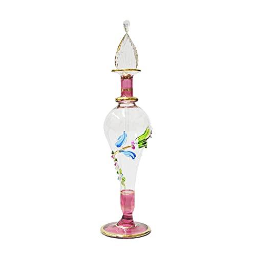 Perfumero Egipcio de Cristal soplado Hecho a Mano en Egipto Jarrón de Flores Rojo 16 cm