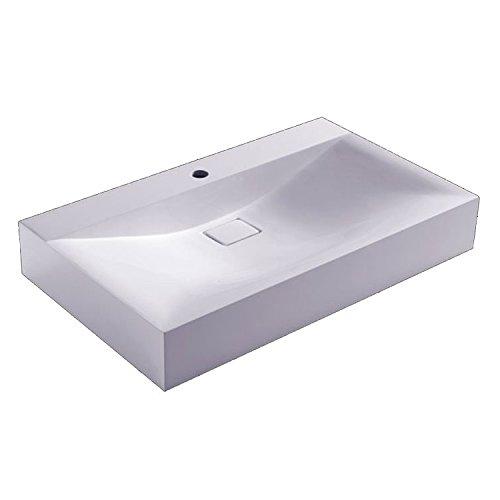 STONEART Waschbecken BH086-4E (Mineralguss) weiß/80cm/glänzend
