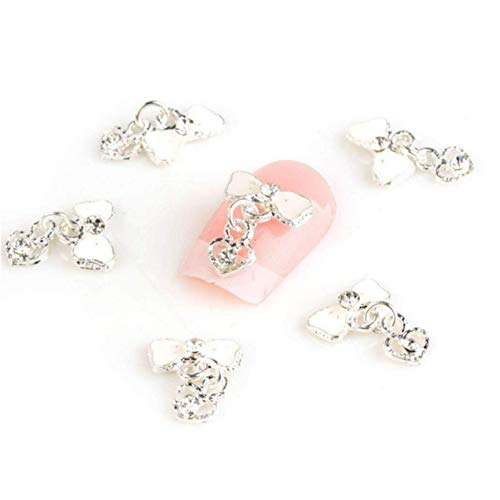 350Buy 10Pcs Bow Tie Heart Alloy 3D Rhinestone Nail Art Slice Diy Decoration