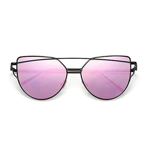 chuanglanja Gafas De Sol Gafas De Sol Para Mujer Gafas De Ojo De Gato Reflectantes De Metal Vintage Para Mujer Espejo Retro-Color-V