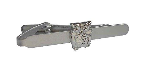 magdalena r. Eule Krawattenklammer Krawattennadel kurz 5,3 cm silbern glänzend inkl.Geschenkbox