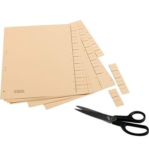 SCHÄFER SHOP Trennblätter aus Manilakarton mit seitlichem Tabendruck für Registerschnitt, DIN A4, 1-10, blanko, 100 Stück