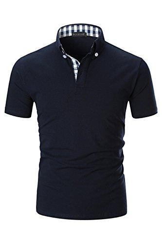 YCUEUST Herren Kurzarm Poloshirt Polohemd Polo Shirts mit Kariert Polokragen Blau EU XL