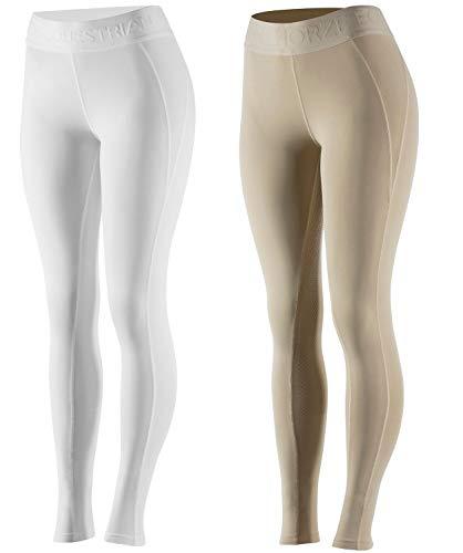 netproshop Damen Sommer Schlüpf Reithose Leggings Tights Vollbesatz Leicht Gr. 40-46, Damengroesse:42, Farbe:Beige