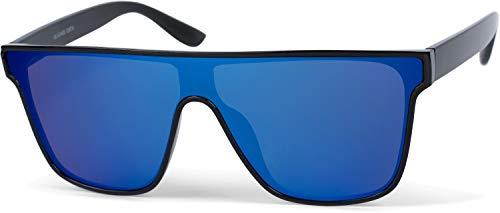 styleBREAKER Unisex Shield Monoglas Sonnenbrille, Polycarbonat Glas und Kunststoff Rahmen, Retro Nerd Style 09020108, Farbe:Gestell Schwarz/Glas Blau verspiegelt