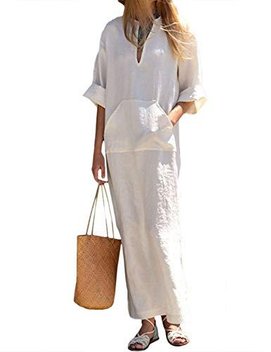 HAHAEMMA Señoras Vestidos Vestido Maxi Vestido Suelto Manga Larga Retro Lino Algodón Vestidos Largos Blusa Elegante Ancho Casual Vestidos de Verano Señoras Más El Tamaño