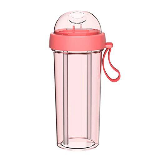 SPI 420/600ml Water Cup Draagbare Dubbele Rietje Afzonderlijke Kunststof Sport Drink Water Drank Fles Koppels Cadeau, Roze 420ml