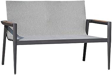 Meubletmoi Canapé Bas 2 Places de Jardin en Aluminium Gris, accoudoirs en Teck et Tissu textilène Gris 84 x 129 x 68 cm - Lok