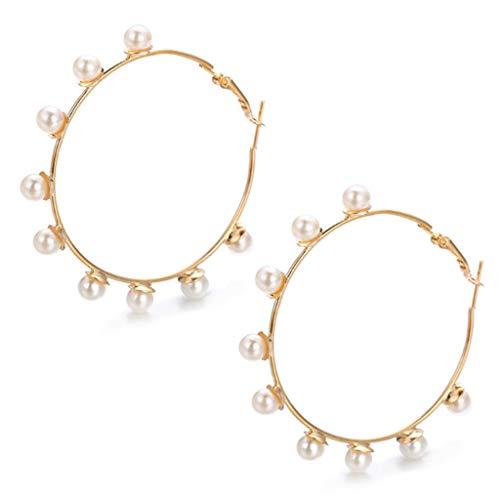 Grote cirkel oorbellen creatieve retro minimalistisch overdreven persoonlijkheid kunstmatige parel oorbellen