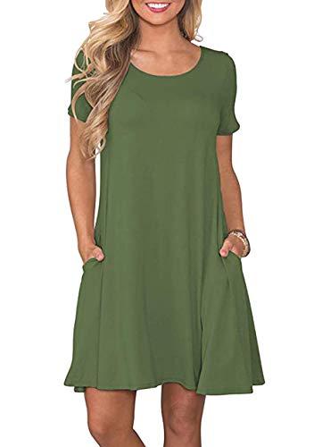 OMZIN Damen Casual Kleider Rockbilly Bedruckt Freizeitkleider Basic Elegant Casual Kleid Armeegrün XL