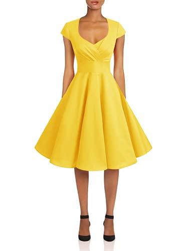 Bbonlinedress Vestido Corto Mujer Retro Años 50 Vintage Escote En Pico Yellow S