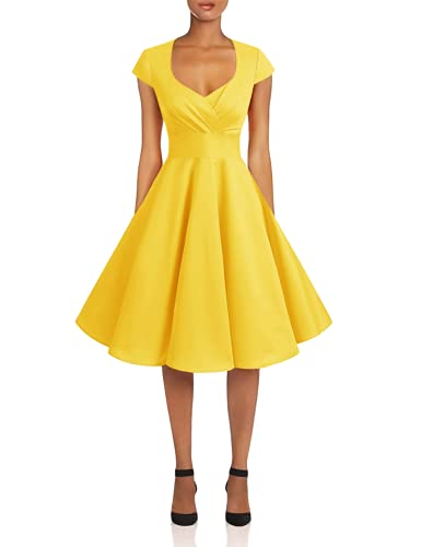 Bbonlinedress Women's Vintage 1950s cap Sleeve Rockabilly Cocktail Dress Multi-Colored Yellow L