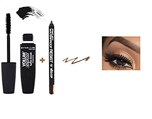 Kit/Set Mascara Gemey Maybeline Turbo Volum' Express Noir + Crayon Yeux Waterproof inclus (Chocolat)