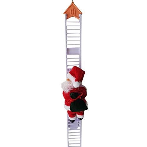 WWWL Plush Toys New Christmas Decoration Santa Claus Electric Climbing Hanging Xmas Ornament Toys Plush Cloth Doll Toys A