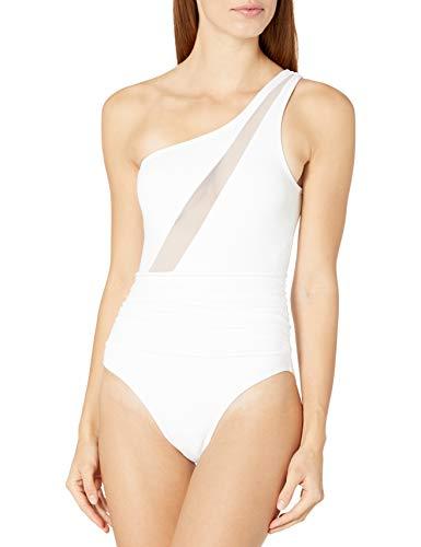 La Blanca Women's Bandeau One Piece Swimsuit, White//Mesh-Merizing, 0