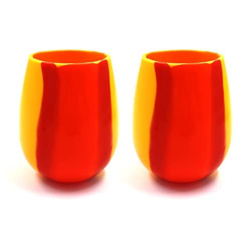 Juego de 2 copas de vino de silicona de 368 ml, coloridas copas de goma inastillables, copas de vino irrompibles sin tallo para exteriores, viajes, camping, fiesta de picnic (naranja)